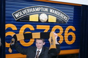 Harry Cartwright after naming 66736 Wolverhampton Wanderers