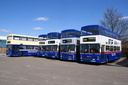 2462 NOA462X + 3071 F71XOF + 3019 F319XOF + 2449 + 2530 POG530Y - 29-3-09 - Aston Manor Road Transport Museum