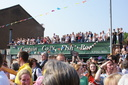 Crowds on top of Captain Cod\'s Fish Bar, just to see the Olympic Torch - 24-5-12 - Kidderminster